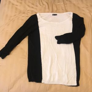 Black and white Color Block Long Sleeve Top